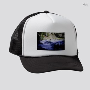 a view from a car near forest wit Kids Trucker hat
