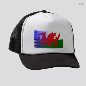 Wales Dragon Stars and Stripes Kids Trucker hat