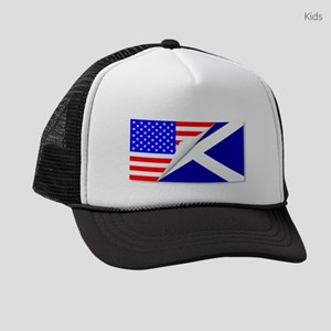 United States and Scotland Flags Kids Trucker hat