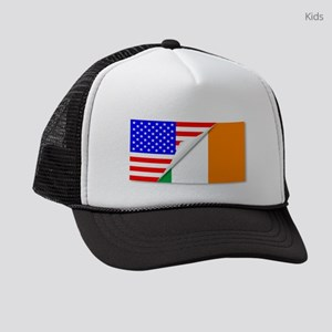 United States and Eire Flags Comb Kids Trucker hat
