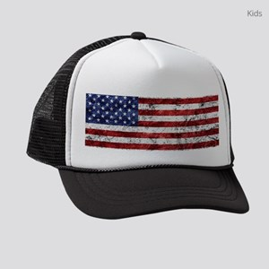 Grunge American Flag Kids Trucker hat