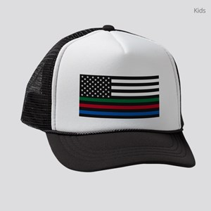 Thin Blue Line Decal - USA Flag - Kids Trucker hat