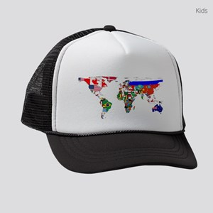 World Map With Flags Kids Trucker hat