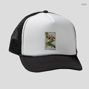 french botanical vintage orchid Kids Trucker hat