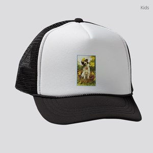 Vintage Dog with chicks and Daffodils Kids Trucker