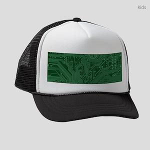 Green Geek Motherboard Circuit Pa Kids Trucker hat