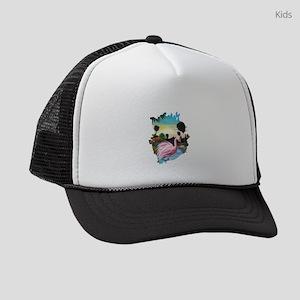 Flamingos Paradise Kids Trucker hat