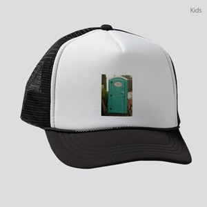 aqua outhouse at work site in san Kids Trucker hat