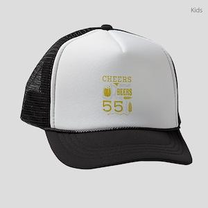 Cheers and Beers 55th Birthday Gi Kids Trucker hat