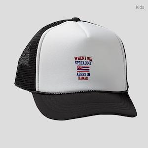 When I Die Spread My Ashes in Haw Kids Trucker hat