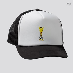 Funny Giraffe Playing Soccer Kids Trucker hat