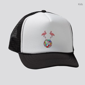 Pink Lawn Flamingos World Globe Kids Trucker hat