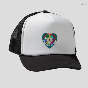 Autism flower and heart Kids Trucker hat
