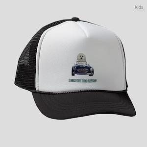 Driving Bichon Frise Kids Trucker hat