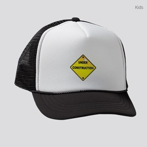Yellow Under Construction Sign Kids Trucker hat