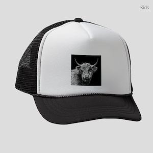 Highland Cow Portrait Black And W Kids Trucker hat