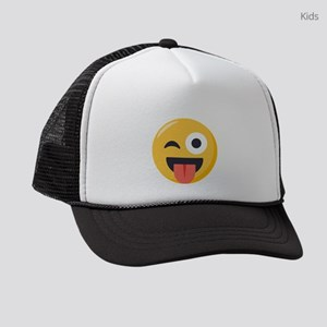 Winky Tongue Emoji Kids Trucker hat