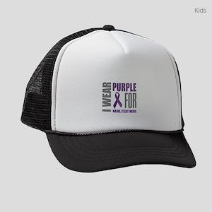 Purple Ribbon Awareness Customized Kids Trucker ha