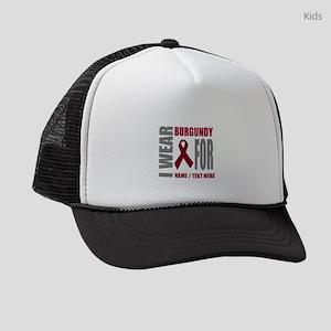 Burgundy Awareness ribbon Kids Trucker hat