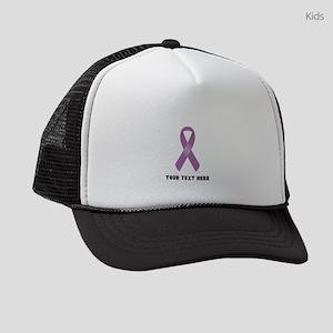 Purple Awareness Ribbon Customize Kids Trucker hat