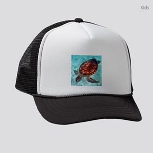 Sea Turtle swimming Kids Trucker hat