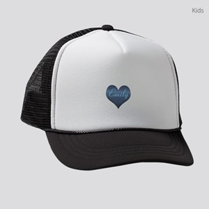 Big Blue Denim Heart Name Kids Trucker hat