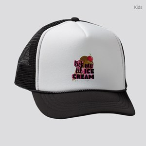 lick me til ICE CREAM adult humor Kids Trucker hat