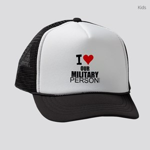 I Love Our Military Personnel Kids Trucker hat