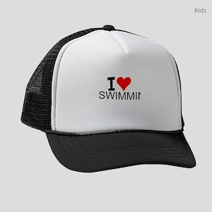I Love Swimming Kids Trucker hat