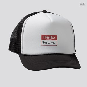 my-name-is-bite-me-10X10 Kids Trucker hat