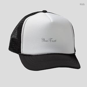 Personalizable Black Script Kids Trucker hat