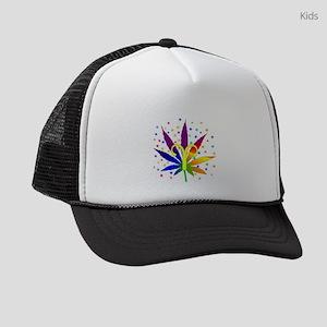 Rainbow Marijuana Aries Kids Trucker hat