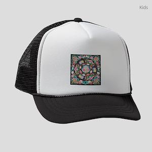 turquoise pink flowers bohemian Kids Trucker hat