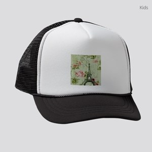 floral vintage paris eiffel tower Kids Trucker hat