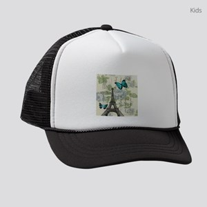 floral paris vintage eiffel tower Kids Trucker hat
