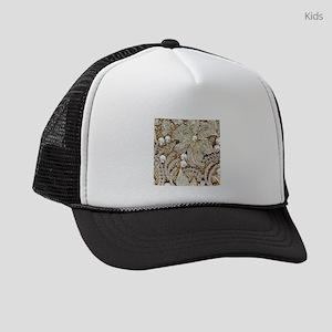 floral champagne gold rhinestone Kids Trucker hat