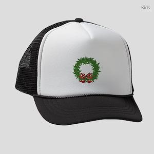 cannabis christmas wreath Kids Trucker hat