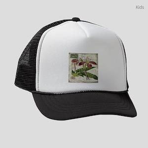 vintage orchid french botanical Kids Trucker hat
