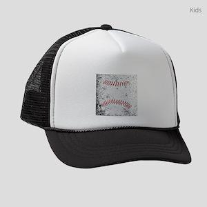 Grunge Baseball Stitches Kids Trucker hat