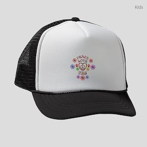 Peace Love Pugs Kids Trucker hat