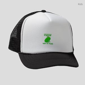 Frogs Make Me Happy Kids Trucker hat