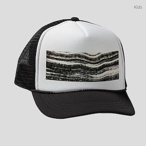 abstract lines black brushstroke Kids Trucker hat