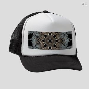 hipster bohemian silver mandala Kids Trucker hat
