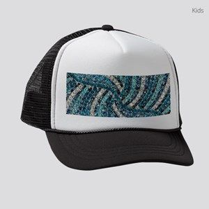 bohemian swirls teal turquoise Kids Trucker hat