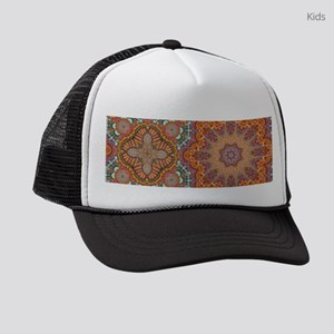 turquoise orange bohemian morocca Kids Trucker hat