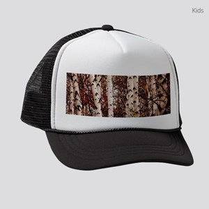 fall landscape birch tree Kids Trucker hat