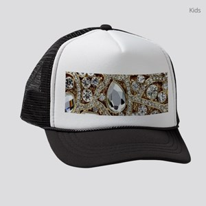 girly bohemian gold rhinestone Kids Trucker hat