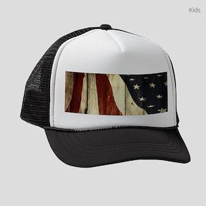 grunge USA American flag Kids Trucker hat