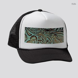 Rustic teal Western leather Kids Trucker hat