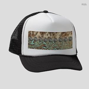 cow hide western leather Kids Trucker hat